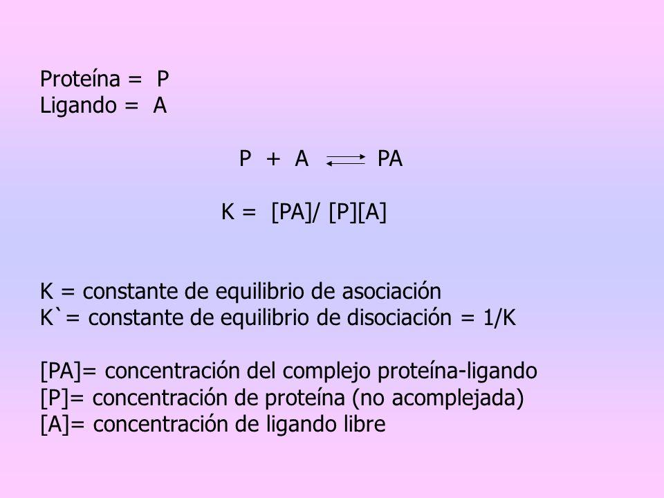 Proteína = P Ligando = A. P + A PA. K = [PA]/ [P][A] K = constante de equilibrio de asociación.
